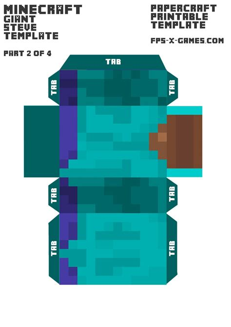 Minecraft Papercraft Size - minecraft steve template 2 4 paper model kid