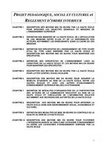 projet p 233 dagogique social et culturel et reglement d