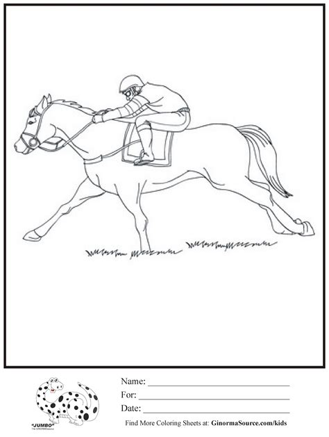 coloring pages race horse ginormasource kids