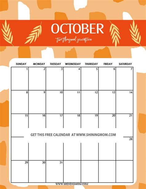Calendar 2017 October Printable And 2017 Calendar Printable