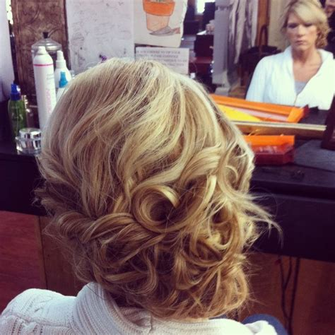 side swipe updo hairstyles loose curls side swept updo i did for a wedding hair