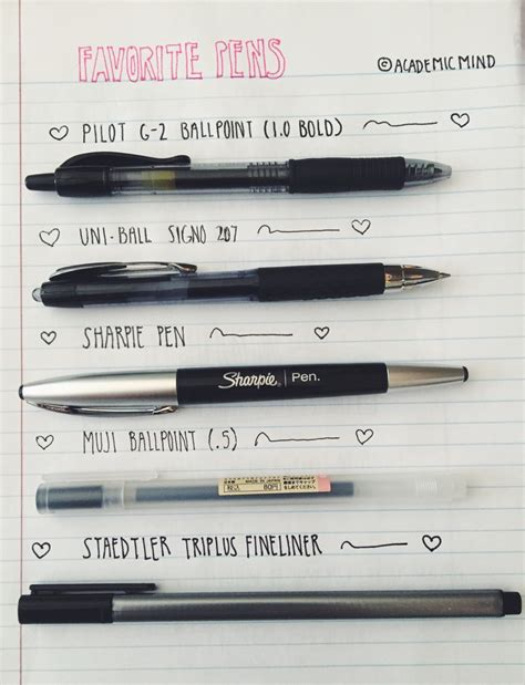 best pens for writing inside an academic mind