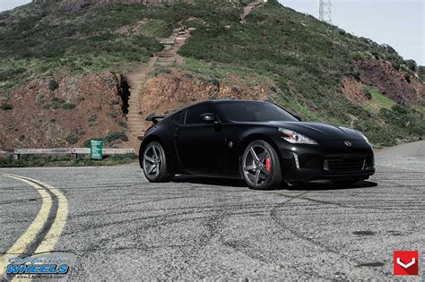 nissan 370z custom black cars vossen tuning wheels nissan 370z black wallpaper