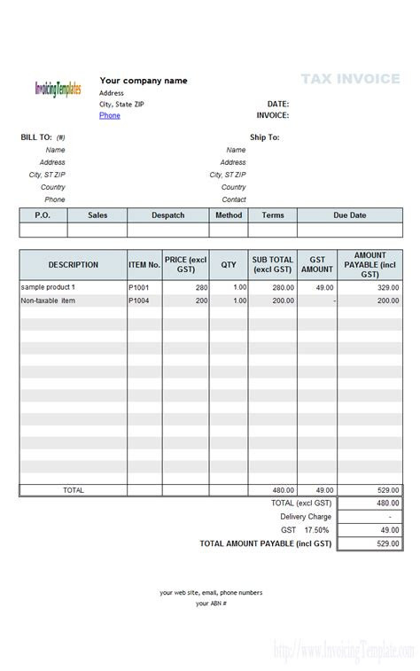 invoice template no gst invoice template australia no gst top 10 results