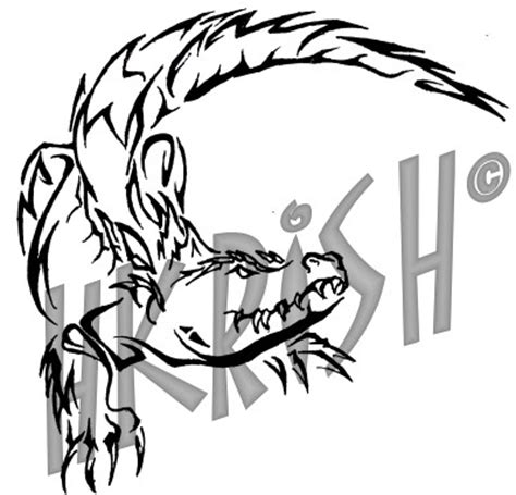 tribal gator tattoo cool black outline alligator stencil by