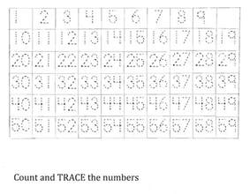 kindergarten number tracing worksheets 1 100