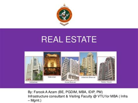 Mba In Real Estate And Infrastructure by Real Estate Industry