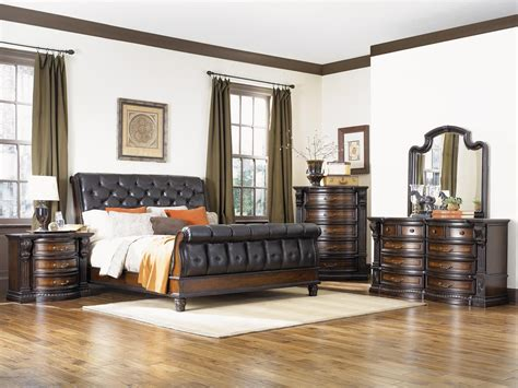 grand estates cinnamon sleigh bedroom set from fairmont
