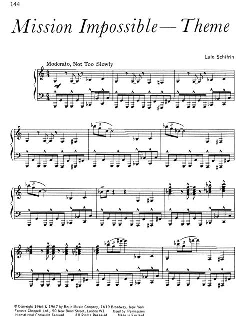 tutorial piano mission impossible sheet music piano mission impossible lalo schifrin