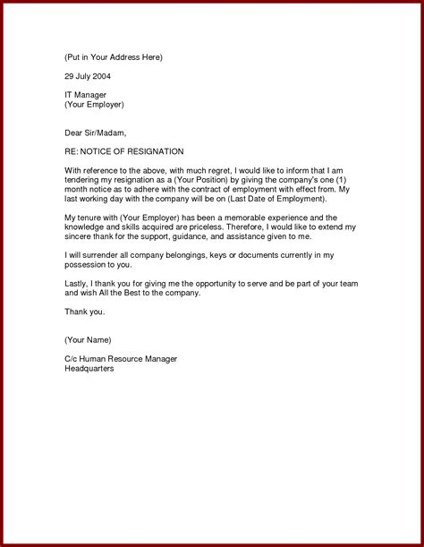 Resignation Letter From A by Formal Resignation Letter 1 Month Notice Formal Letter Template