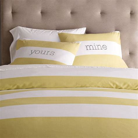 Yellow And White Striped Duvet Cover striped duvet cover and shams in white citron