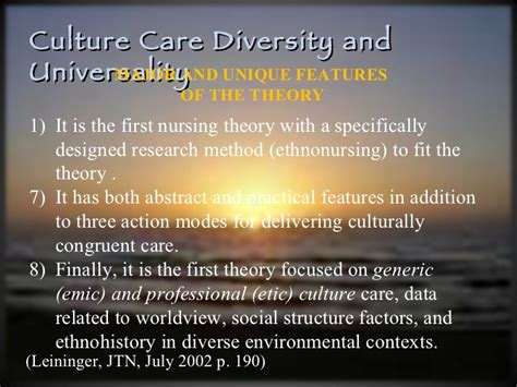 cultural care diversity and universality madeliene leininger s sunrise model ppt