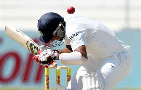 Hit The Thrice by India Vs Hit On The Helmet Thrice Cheteshwar