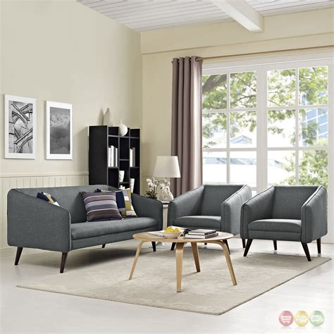 orleans gray living room sofa collection contemporary mid century modern slide 3 pc sofa armchairs living room
