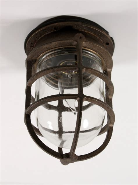 Birdcage Light Fixture Antique Industrial Cast Bronze Cage Light Fixture With Original Glass Signed Oceanic Nc1029 For