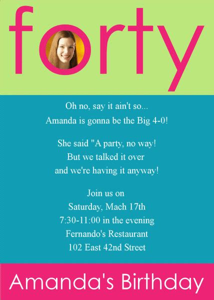 40th birthday invitations templates invitations for 40th birthday quotes quotesgram