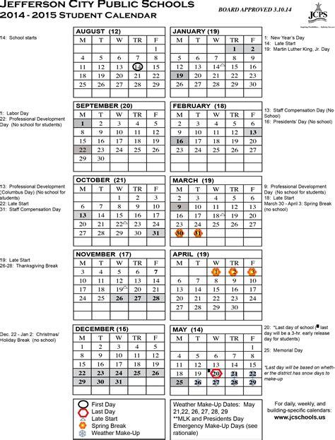 2014 15 calendar template 2014 15 student calendar pdf