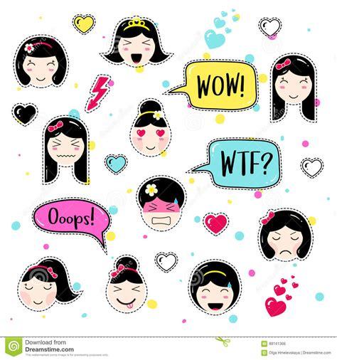 hairstyles emoji set of cute patch badges kawaii anime style cartoon vector