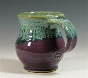 Handmade Tea Cups - coffee mug ceramic tea cup pottery glazed in purple and