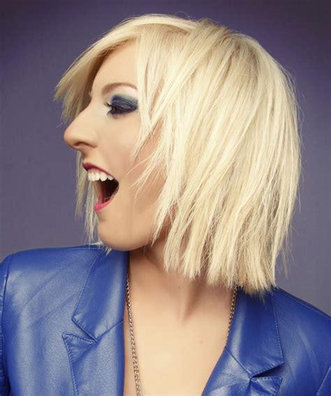 medium straight casual hairstyle light platinum blonde hair color