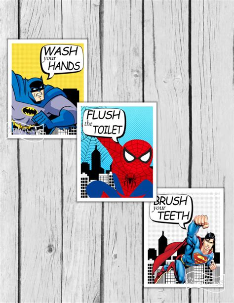 superman bathroom decor superhero bathroom wall art batman room decor superman boys