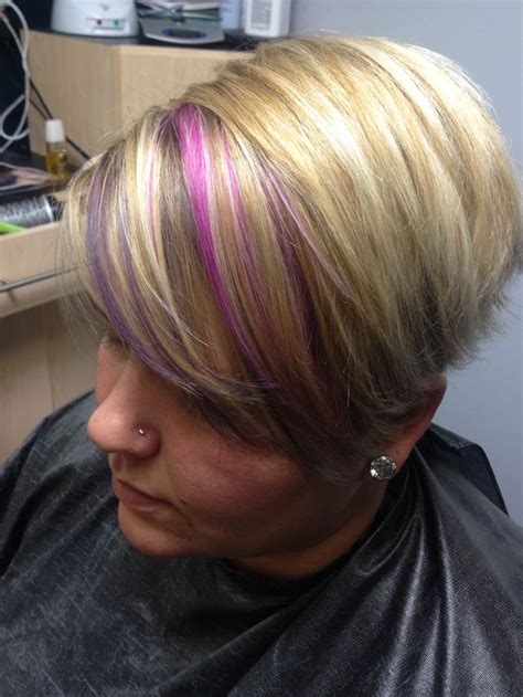 pink and purple strands on baby highlights