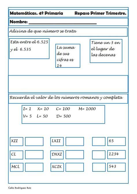 problemas de matematicas para cuarto de primaria gratis matem 225 ticas fichas para cuarto de primaria