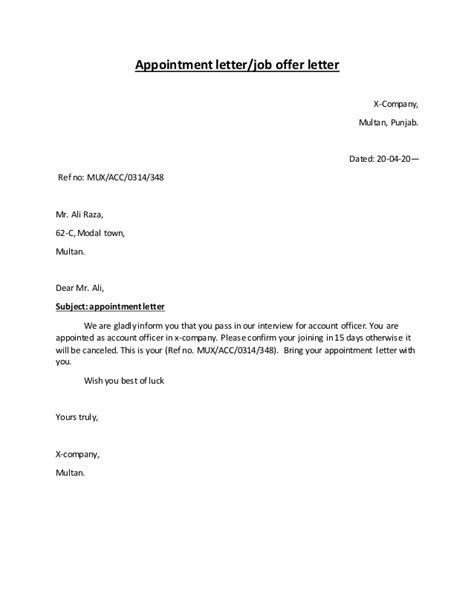 Appointment Letter Que Es Types Of Letters
