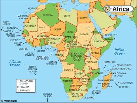 africa map 55 countries countries and capitals map
