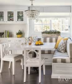 Banquette Breakfast Nook by Transitional White Breakfast Nook With Striped Banquette Seating Luxe Trends