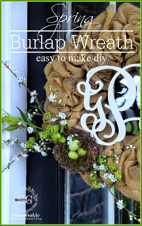 burlap wreath tutorial stonegable spring burlap wreath diy stonegable