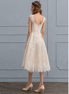 White Pink Dress 30364 a line princess scoop neck knee length tulle lace wedding