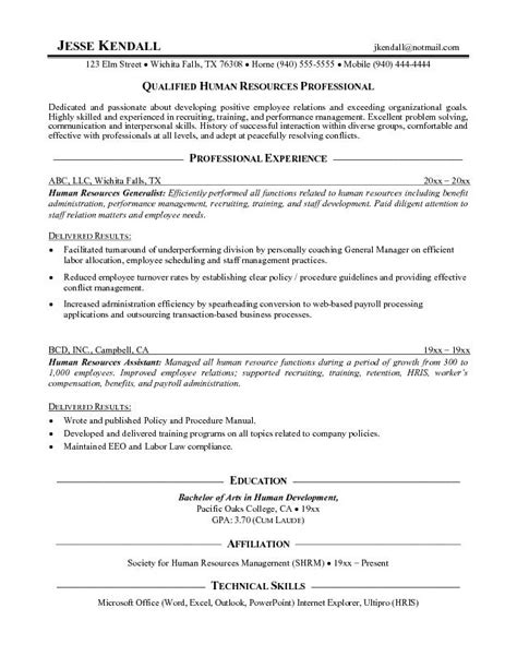 Resume Summary Exles Human Resources Assistant Hr Resumes For Freshers