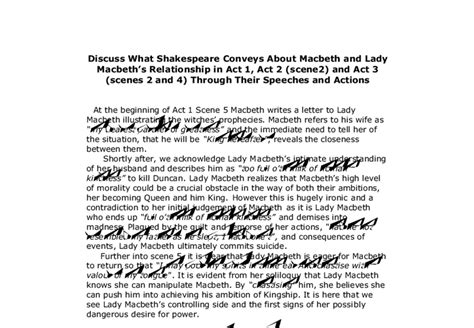 Act 5 1 Macbeth Essay by Discuss What Shakespeare Conveys About Macbeth And Macbeths Relationship In Act 1 Act 2