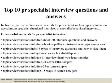 top 10 pr specialist questions and answers