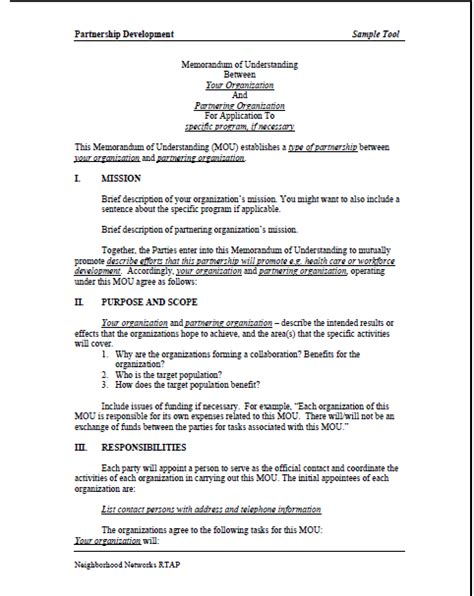 template for a memorandum of understanding memorandum of understanding sle template business