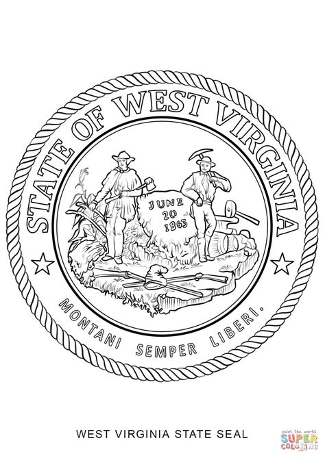 west virginia state seal coloring page free printable