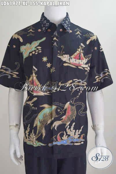 Kemeja Batik Lengan Pendek Prodo Kapal baju batik tulis keren harga murmer kemeja batik lengan pendek motif kapal dan ikan hanya 150