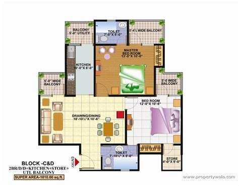2bhk floor plan techman moti residency nh 58 ghaziabad residential
