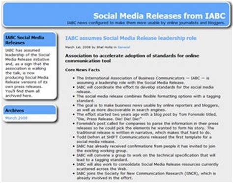 social media news release template iabc takes the lead with the social media release