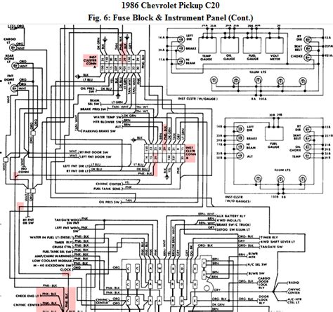 chevy truck instrument cluster wiring diagram get free image about wiring diagram a 1986 chevy c20 4sp a c blowing the fuse for the guages pulled the dash and