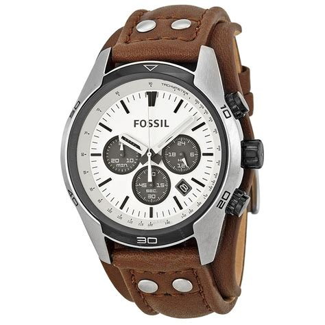 Fossil Wacth fossil coachman chronograph white brown leather s ch2890 coachman fossil
