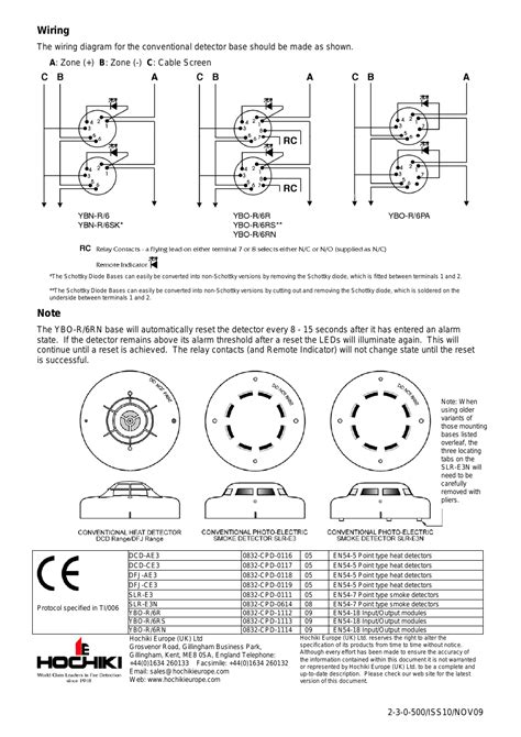 Wiring | Hochiki SLR-E3N User Manual | Page 2 / 2