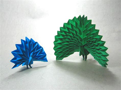 Peacock Origami - two peacocks jun maekawa happy folding