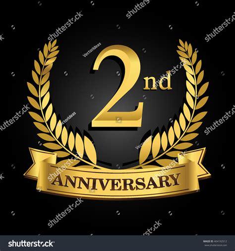 2nd golden anniversary logo ring ribbon stock vector