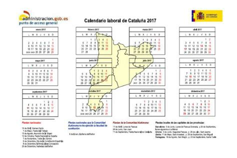 Calendario Laboral Barcelona 2017 Pdf Calendario Laboral Catalu 241 A 2017