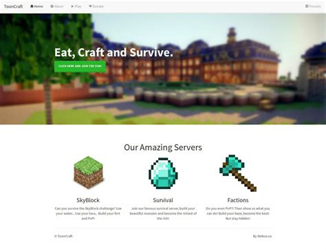 Tooncraft Minecraft Website Template 1 0mb Zip File Sellfy Com Minecraft Website Template