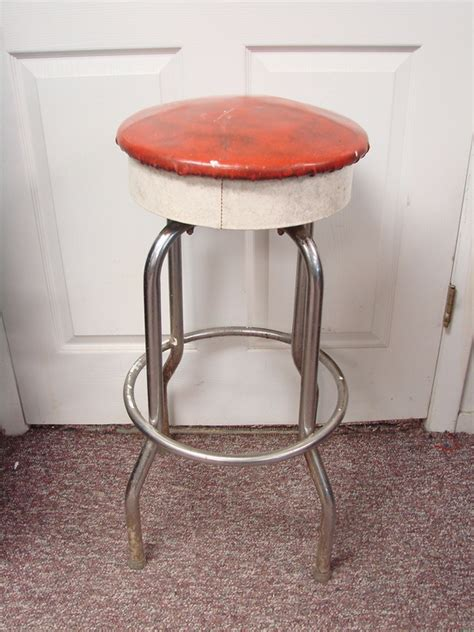 Soda Shop Bar Stools by Vtg Soda Shop Bar Stool Swivel Seat Space Age Retro White Ebay