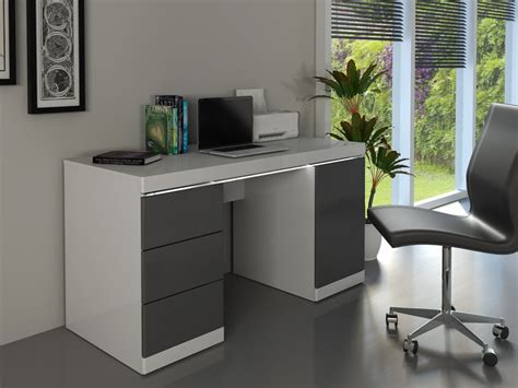 bureau gris blanc bureau loic leds 1 porte 3 tiroirs blanc gris