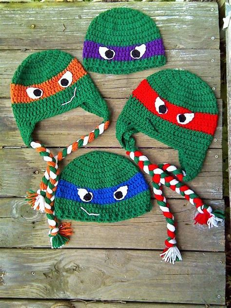 pattern for ninja turtle hat ninja turtles beanie and earflap hat by annie jo craftsy